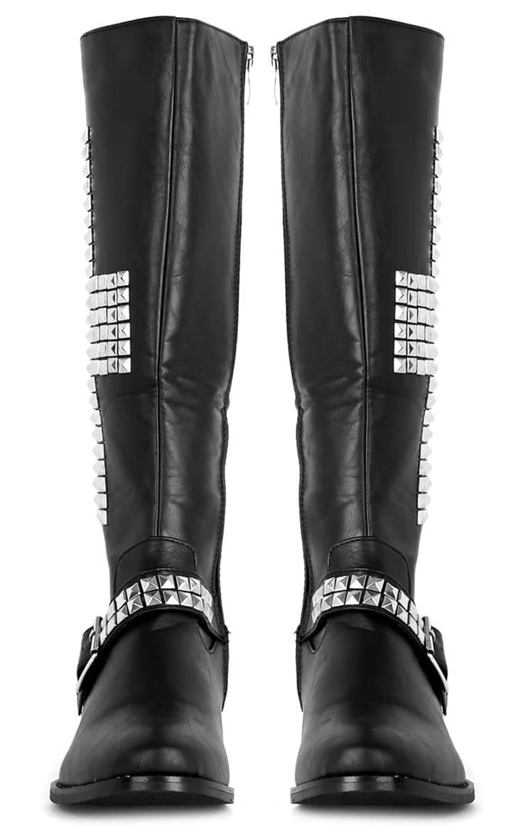 Abi Black Biker Boots With Silver Cross 3