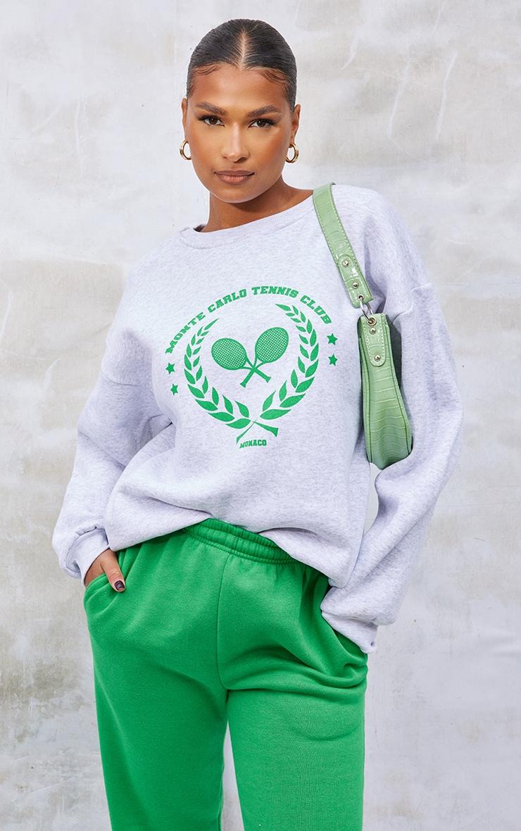 Ash Grey Monte Carlo Tennis Washed Sweatshirt 1