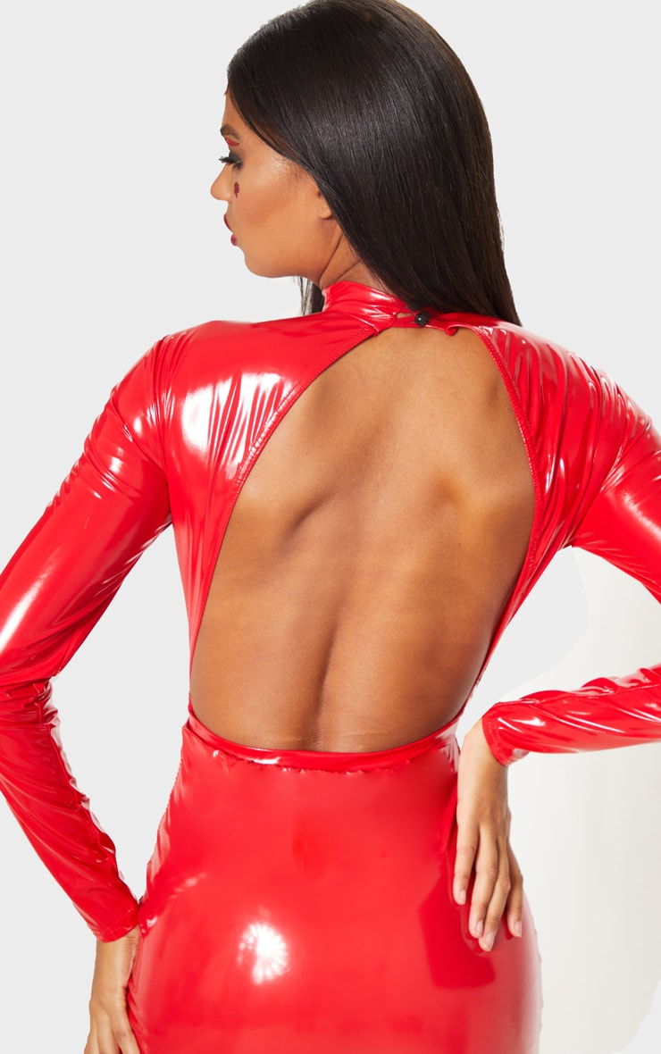 Red Vinyl High Neck Bodysuit 6
