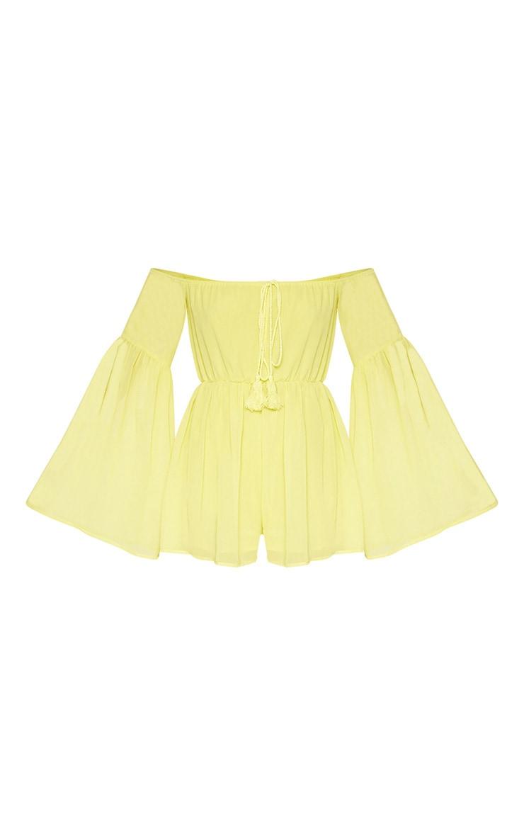 Yellow Chiffon Flared Sleeve Playsuit 3