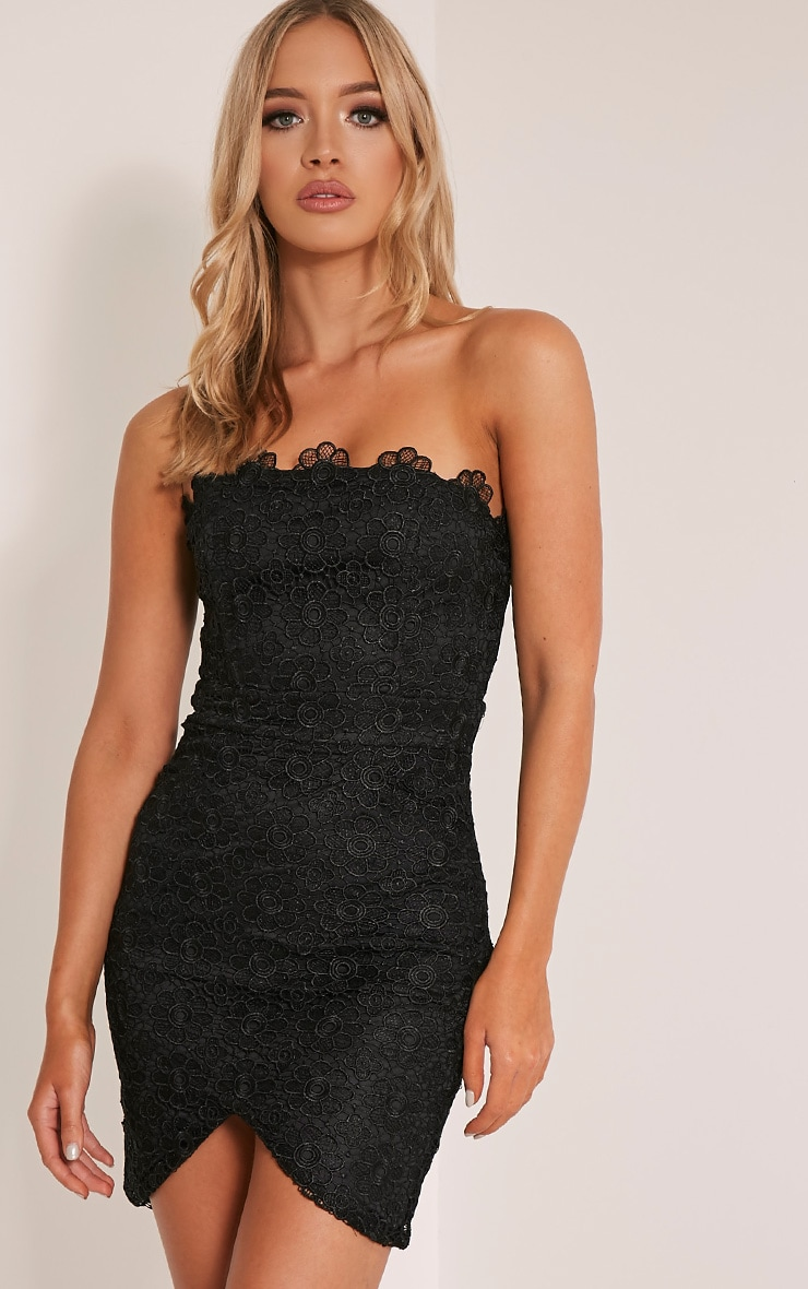 Leora Black Bandeau Lace Mini Dress 1