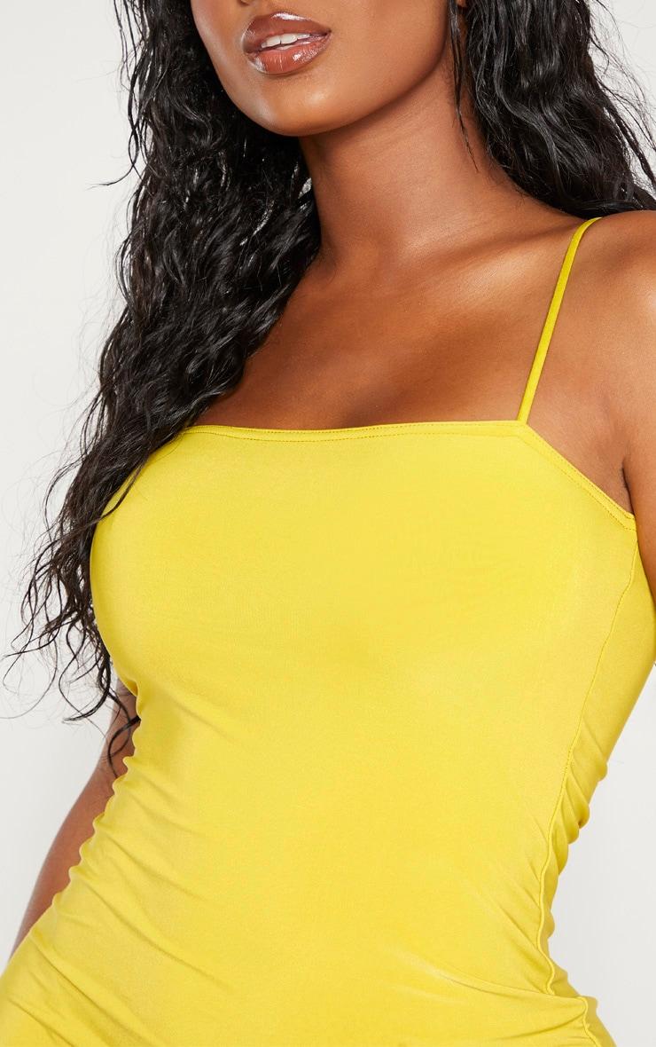 Shape Chartreuse Slinky Strappy Mini Dress 5