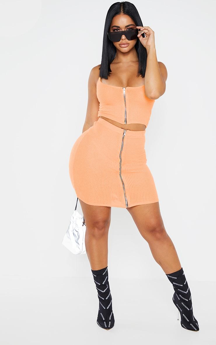 Shape Orange Soft Rib Zip Bodycon Skirt 5