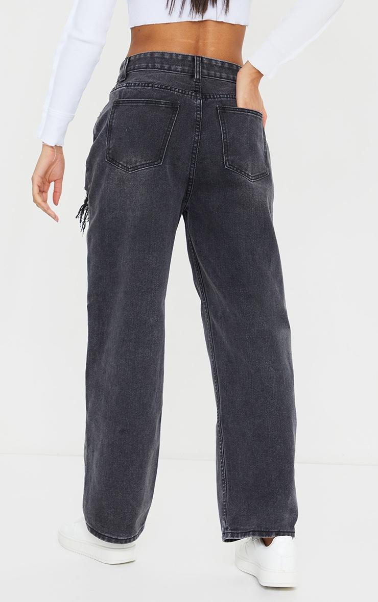 Black Acid Wash Distressed Knee Rip Boyfriend Jeans 3