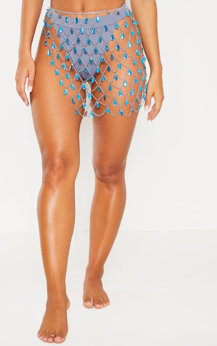 Blue Gemstone Chain Skirt Body Jewellery 2