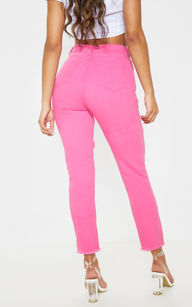 Bright Pink Extreme Distressed Mom Jeans 4