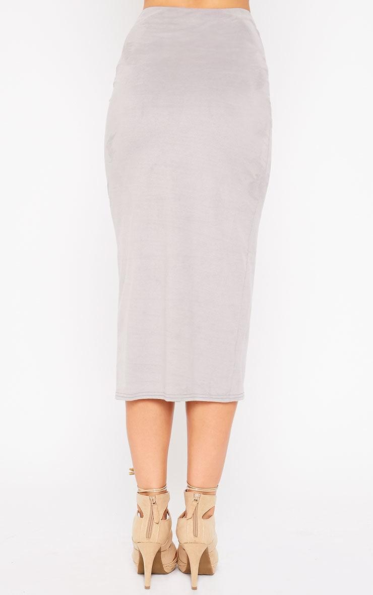 Riley Grey Suede Midi Skirt 4