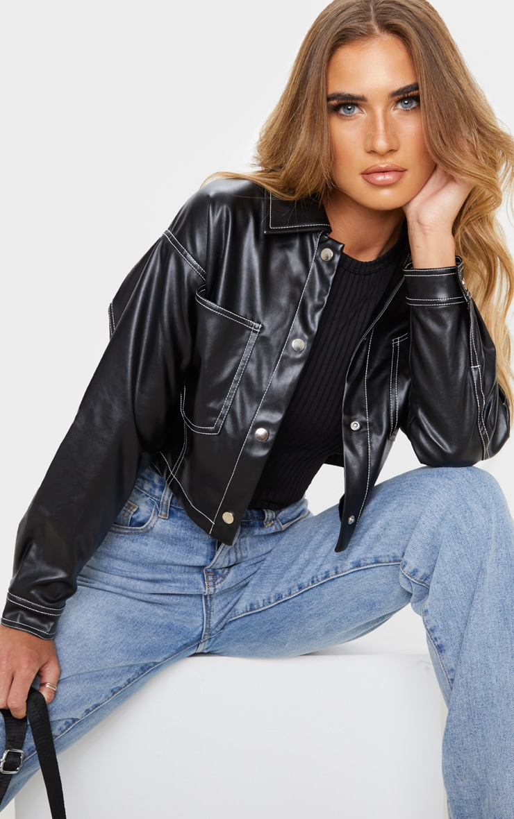 Black Faux Leather Contrast Stitch Crop Jacket 5
