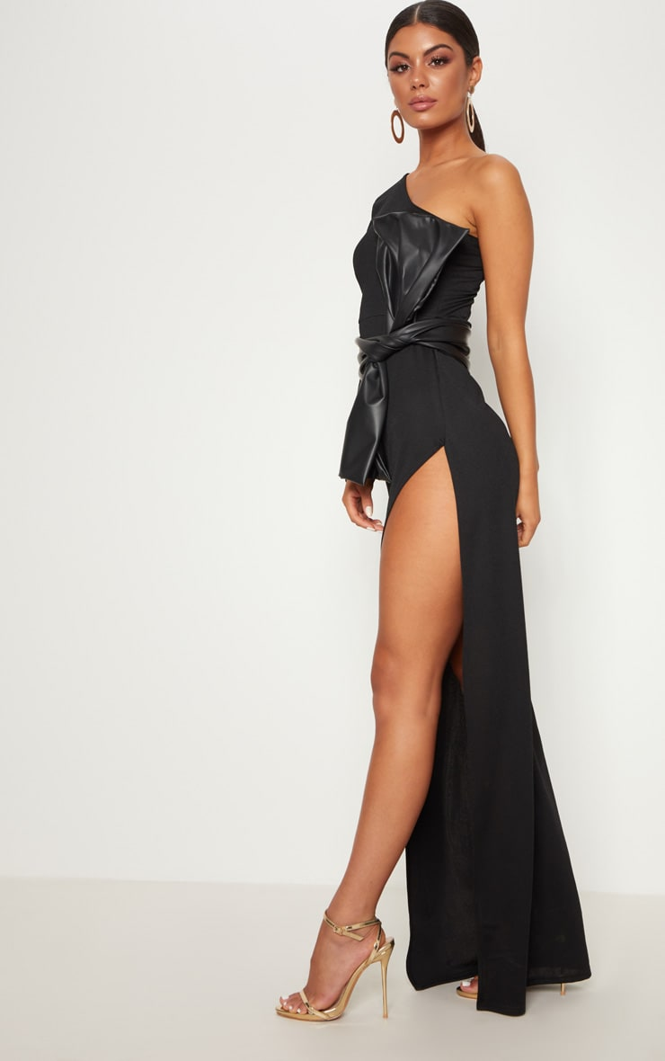 Black One Shoulder PU Belt Maxi Dress 4