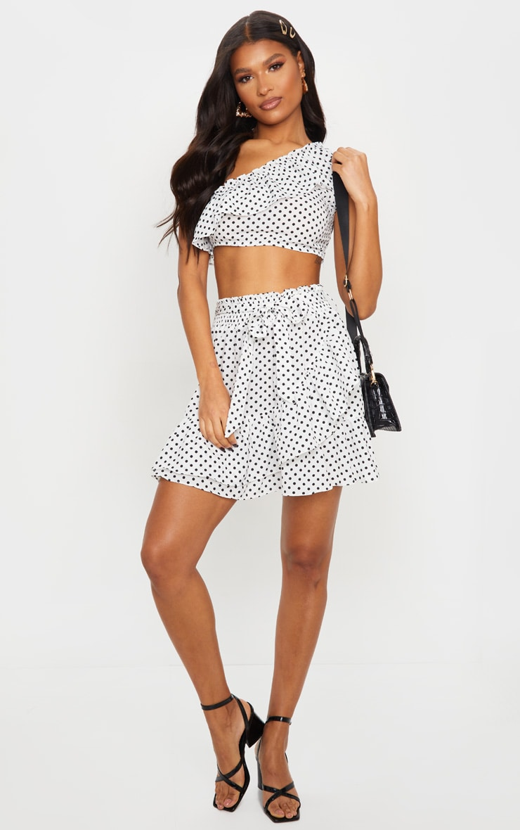 White Polka Dot Woven One Shoulder Frill Panel Crop Top 3