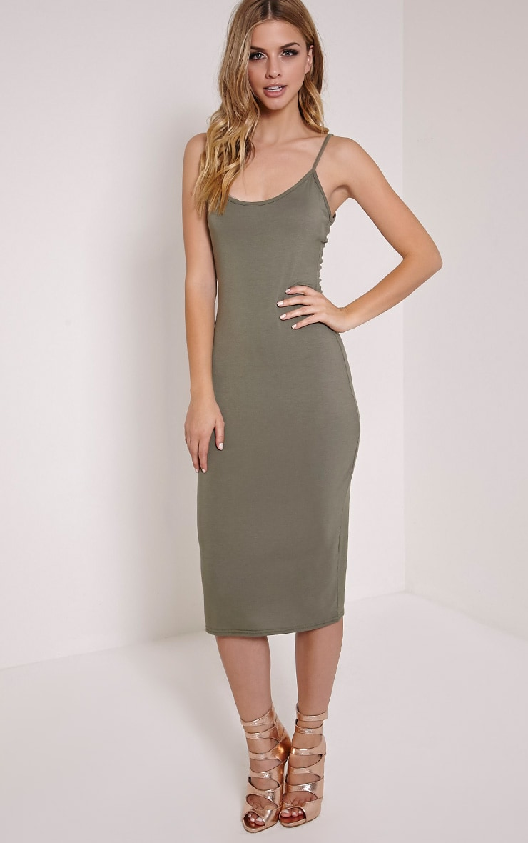 Basic Khaki Midi Vest Dress 4