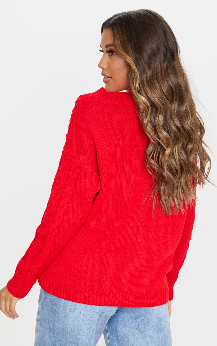 Red Deep V Oversized Cable Knit Jumper 3