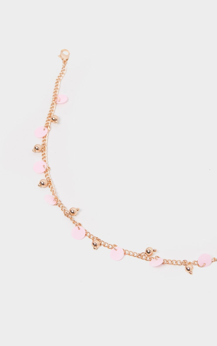 Gold And Pink Disc Anklet 2