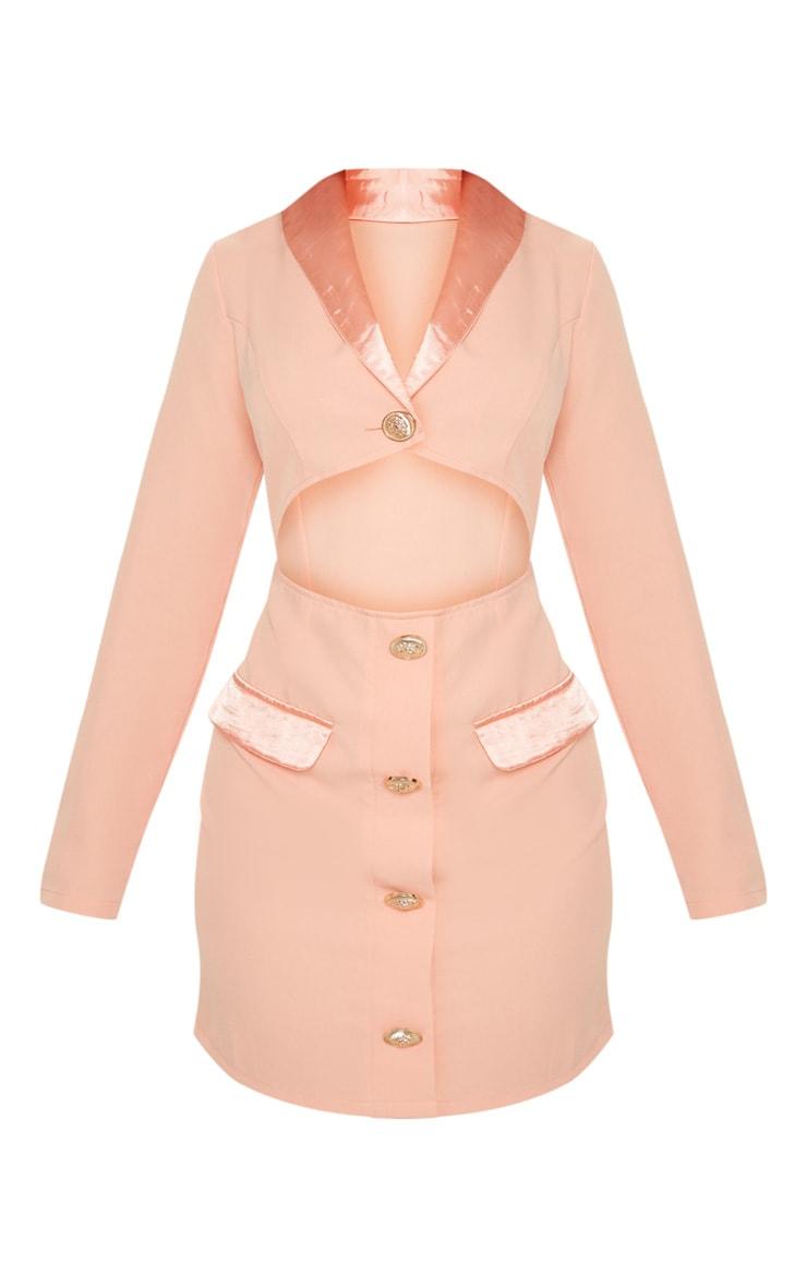 Peach Gold Button Satin Insert Cut Out Blazer Dress 3