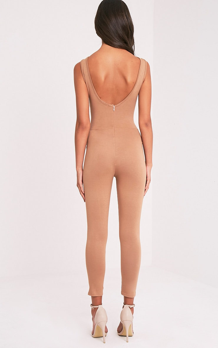 Katie Camel Scoop Back Fitted Cropped Leg Jumpsuit 2