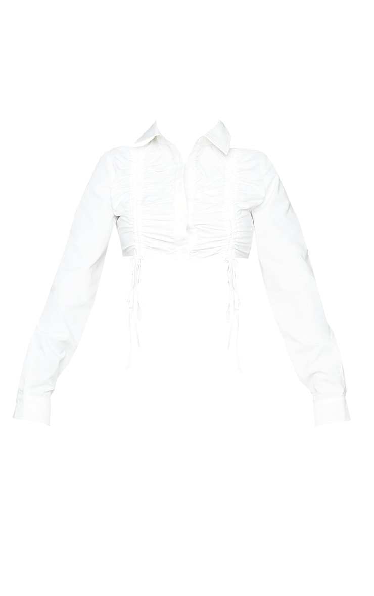 Shape White Ruched Front Cropped Shirt 5