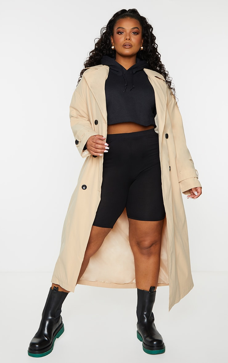 PRETTYLITTLETHING Plus Stone Branded Badge Trench Coat 1