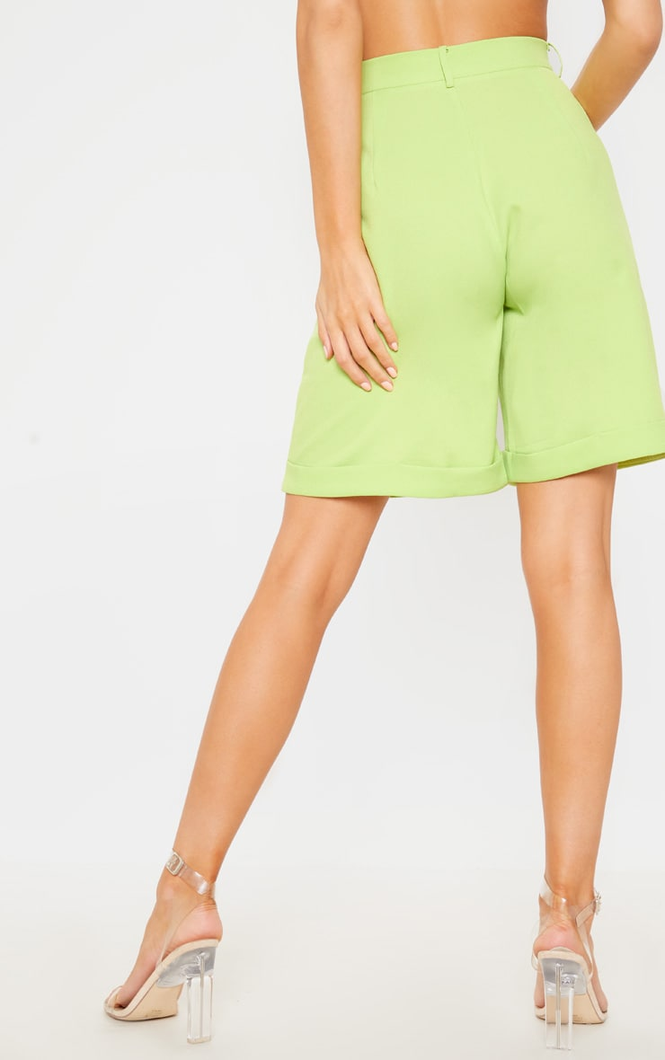 Lime Turn Up Hem Longline Short 4