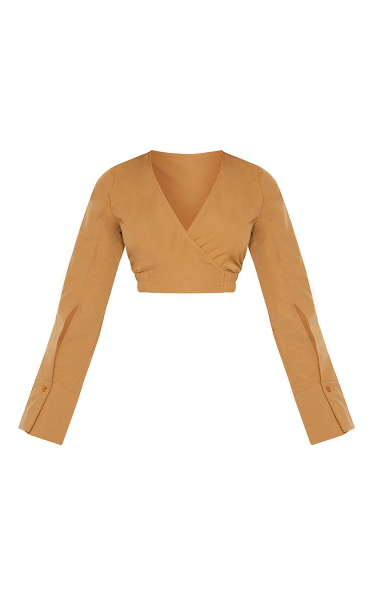 Mocha Woven Long Sleeve Elasticated Hem Shirt 5