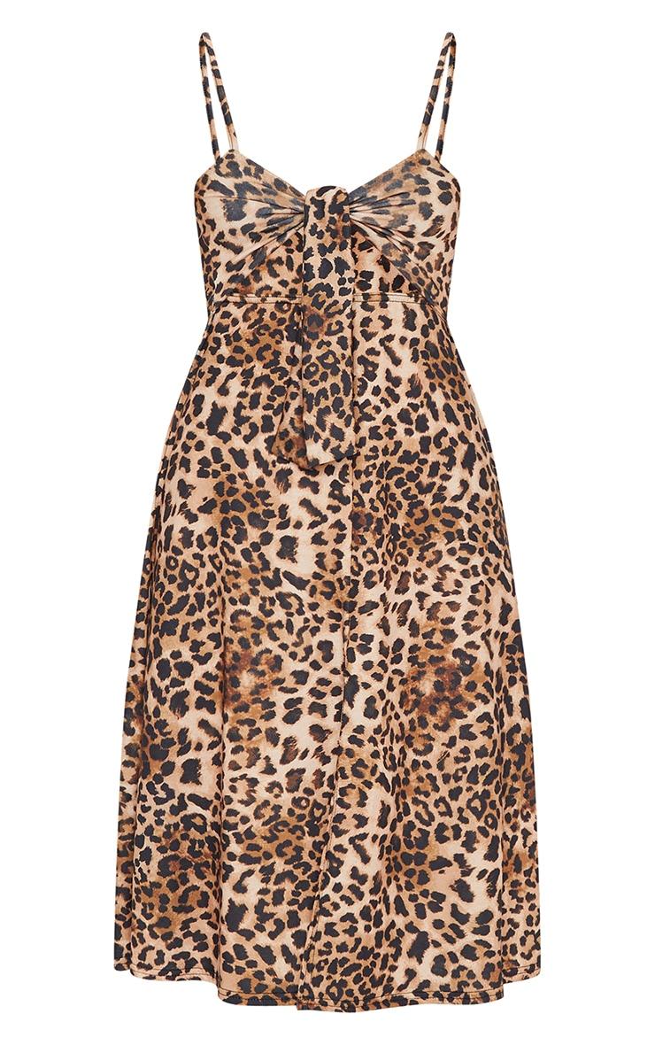Brown Leopard Print Tie Front Strappy Swing Dress 5