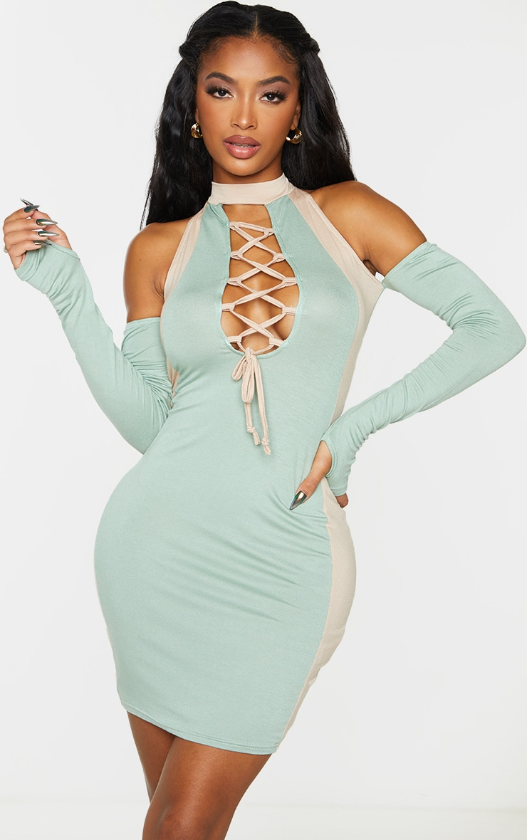 Shape Sage Green Panel Detail Lace Up Bodycon Dress 1
