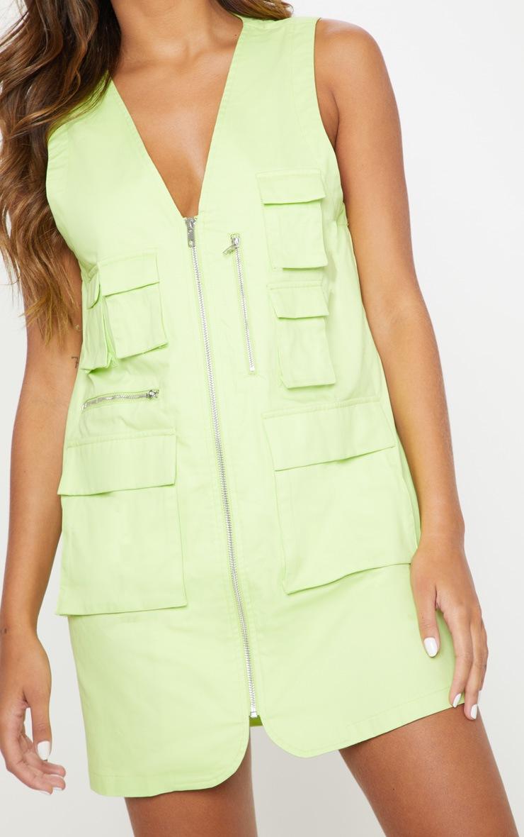 Lime Neon Cargo Zip Front Pocket Shift Dress 5