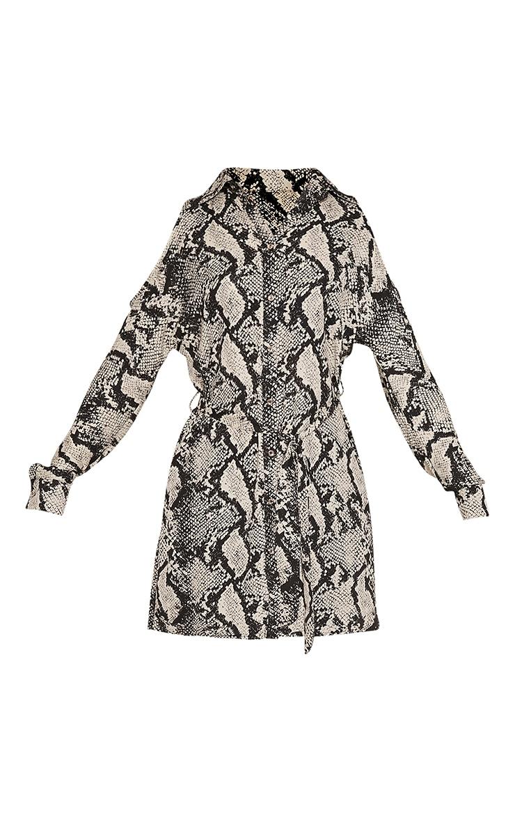 Ciara Taupe Cold Shoulder Snake Print Shirt 3