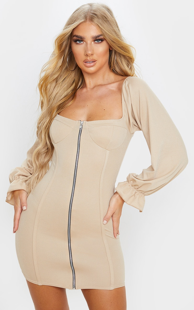 Fawn Zip Up Cup Detail Balloon Sleeve Bodycon Dress 1