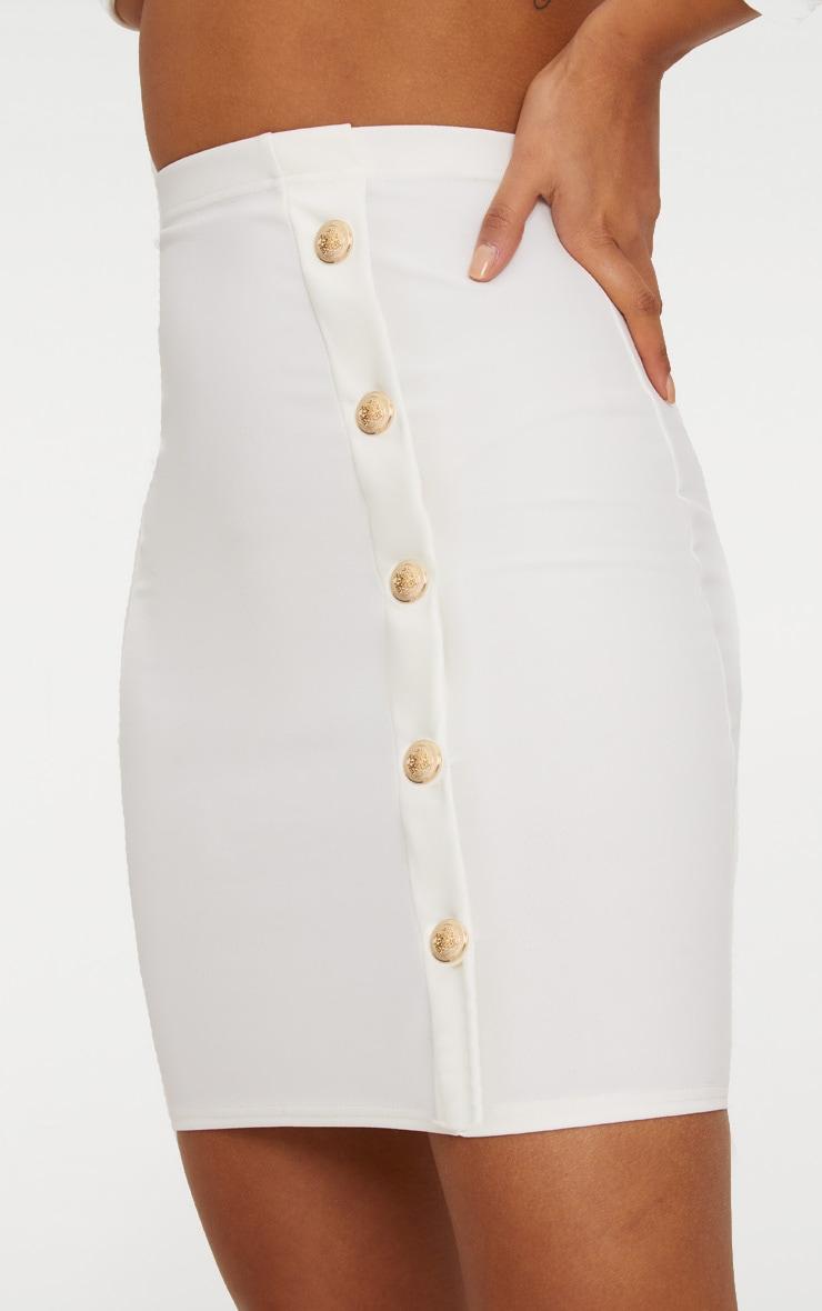 White High Waisted Gold Button Mini Skirt  6