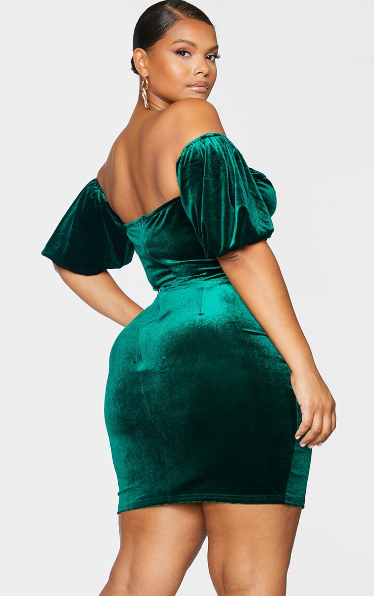 Plus Emerald Green Velvet Corset Bardot Mesh Insert Bodycon Dress 2