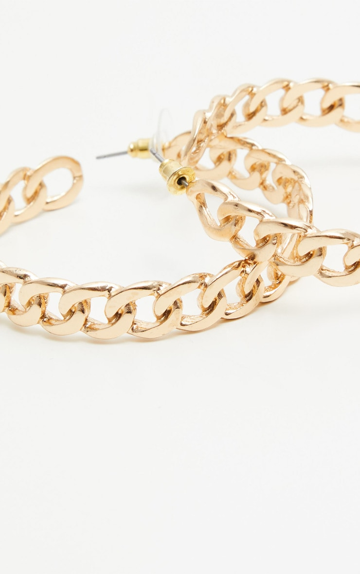 Gold Chained Hoop Earrings 2