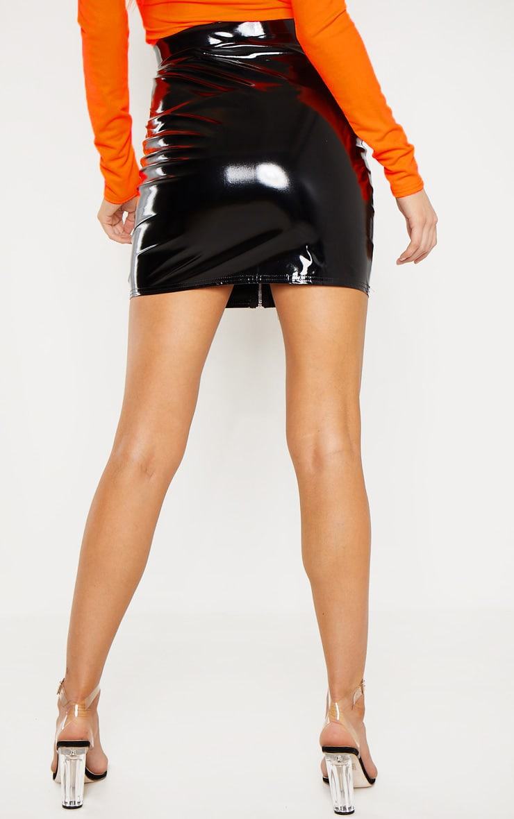 Tall Black Vinyl Zip Skirt 4