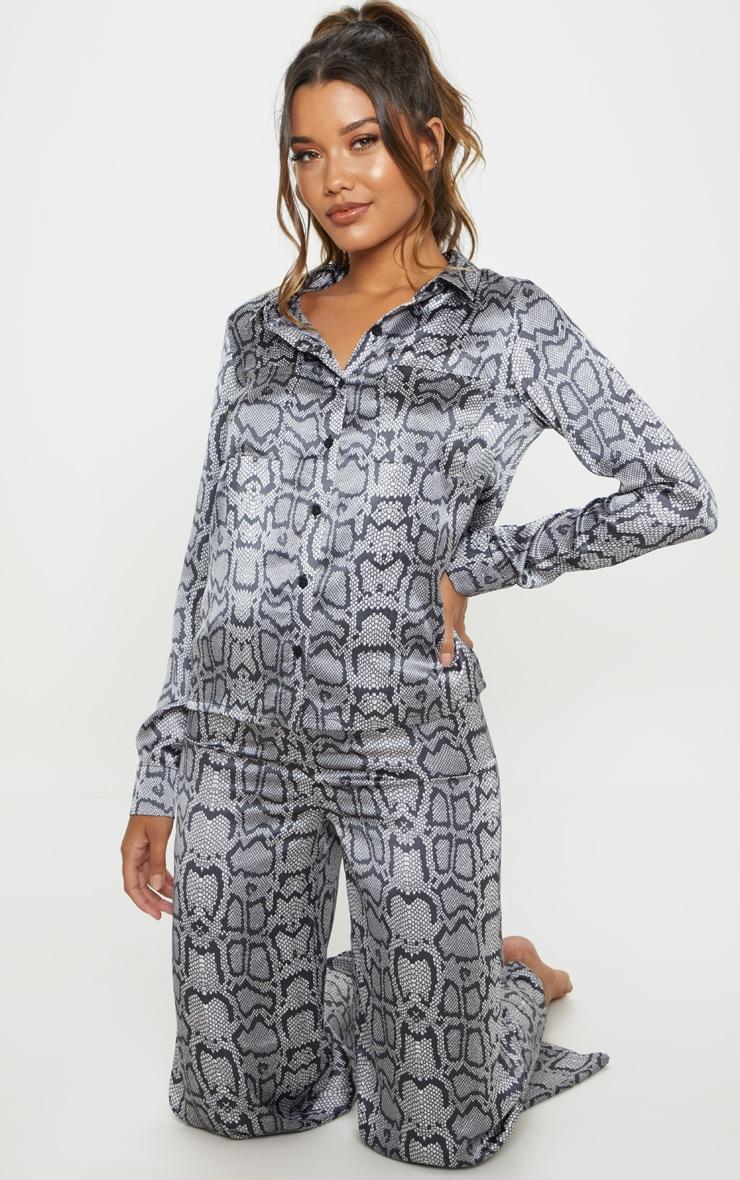 Monochrome Snake Print Long Sleeve Satin Pyjama Set 4