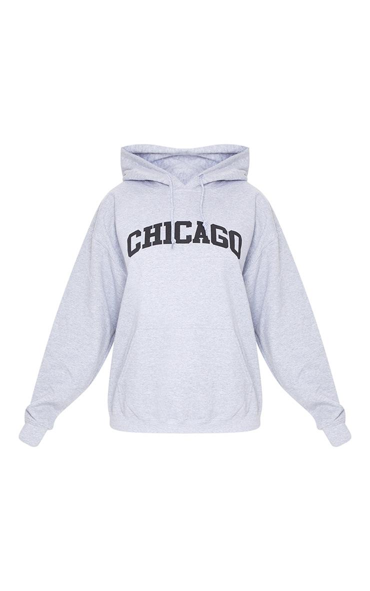 Grey Chicago Printed Hoodie 6