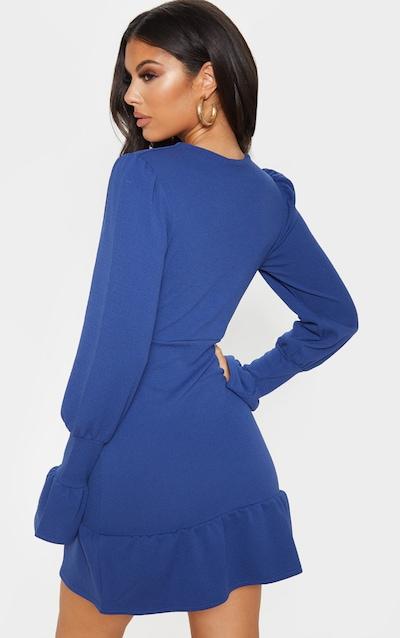 Midnight Blue Plunge Long Sleeve Frill Hem Bodycon Dress
