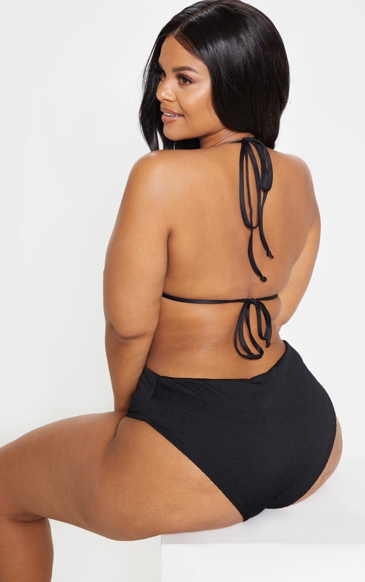 Plus Black Crinkle Triangle Bikini Top 2