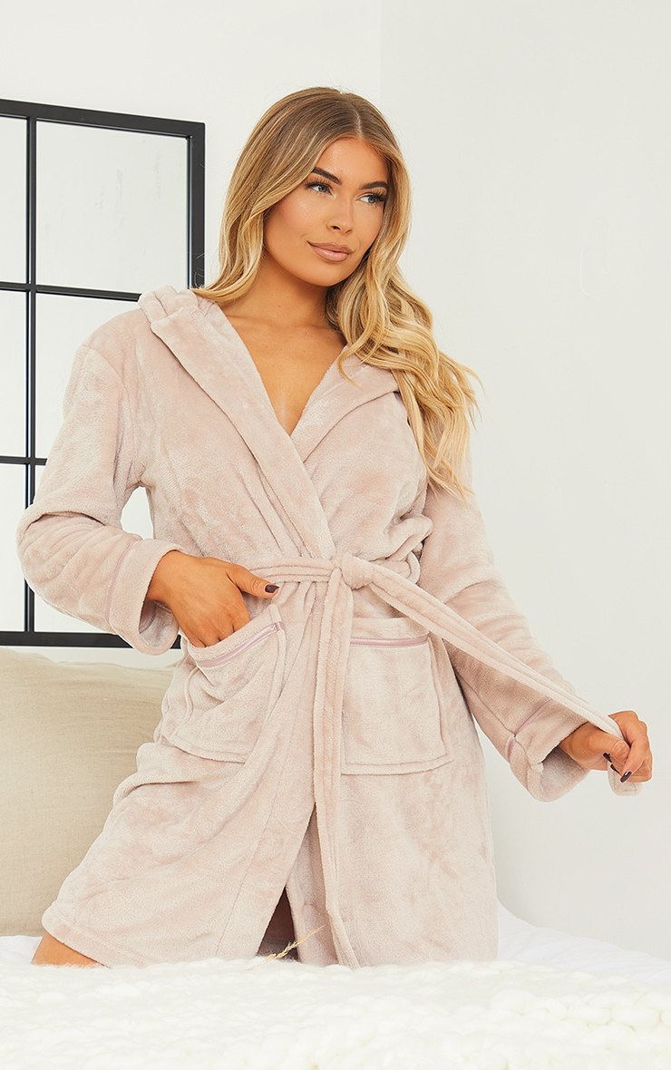Mink Satin Trim Fleece Hooded Dressing Gown 3