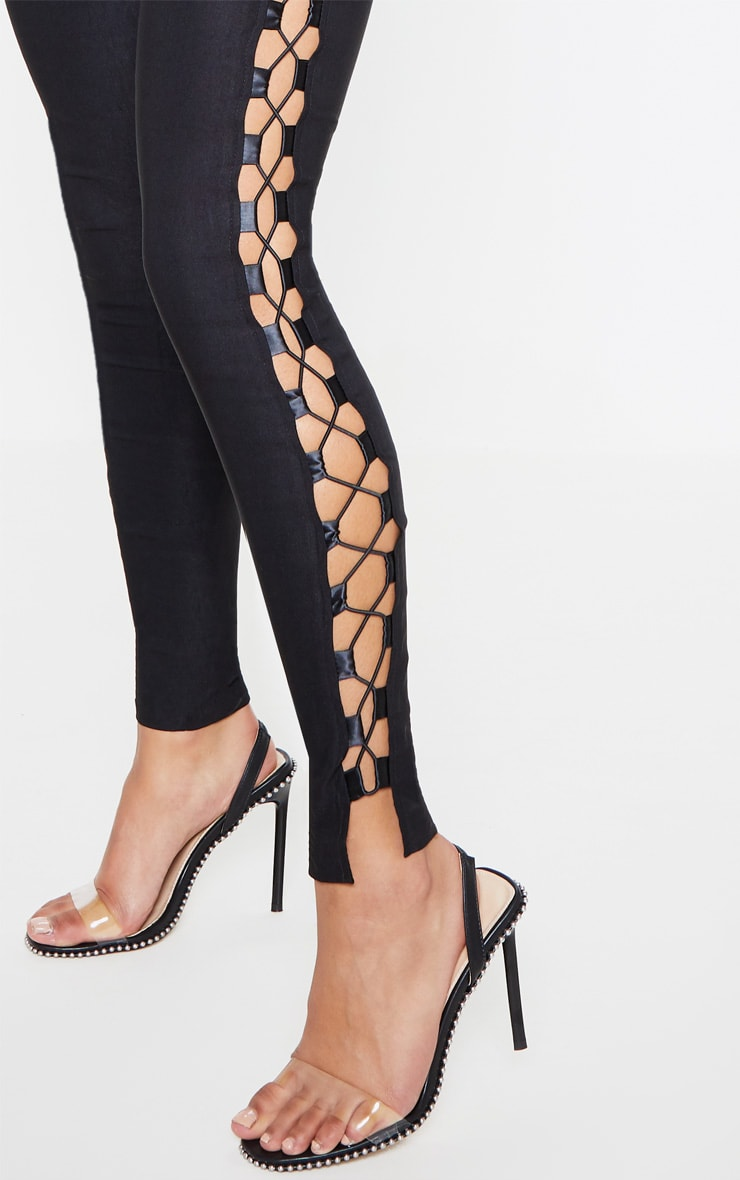 Anetta Black Lace Up Side Skinny Pants 5