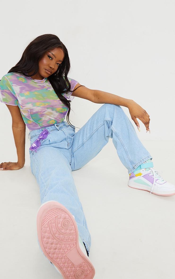 Lilac Mesh High Neck Contrast Seam Short Sleeve Bodysuit 3