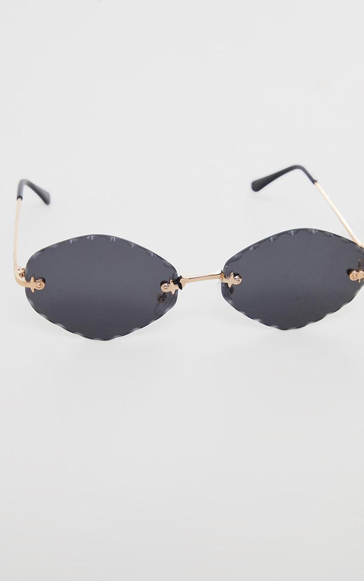 Black Faceted Round Lens Sunglasses 2