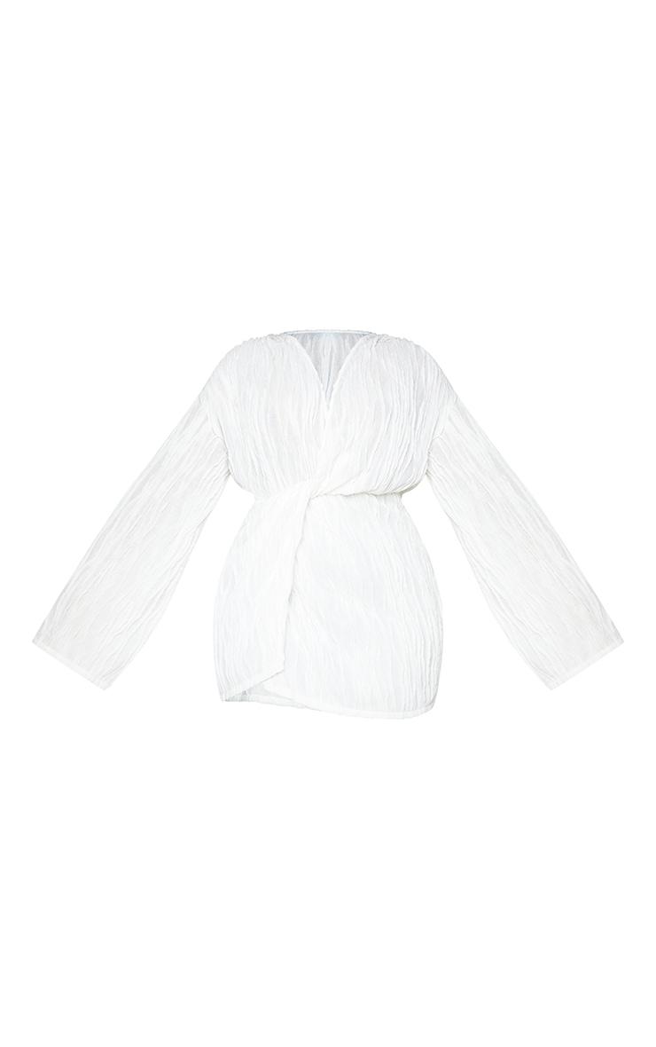 Plus White Textured Wrap Front Dress 5