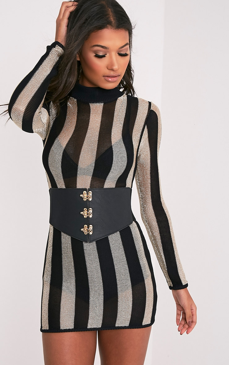 Ediee Black Corset Style Belt 3