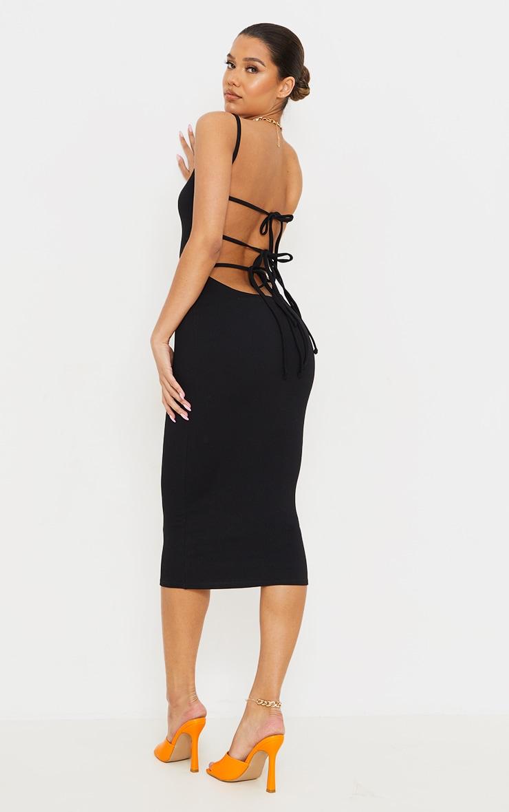 Black Ribbed Double Tie Open Back Midi Dress 1