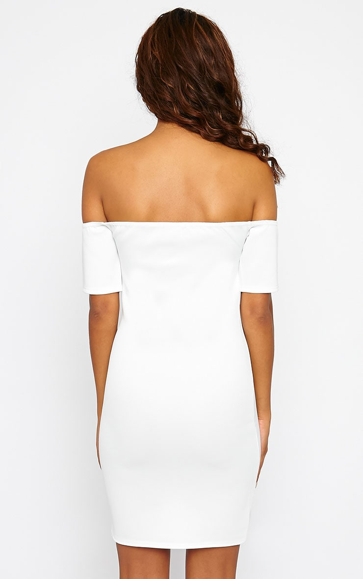 Basic Cream Bardot Bodycon Dress 2