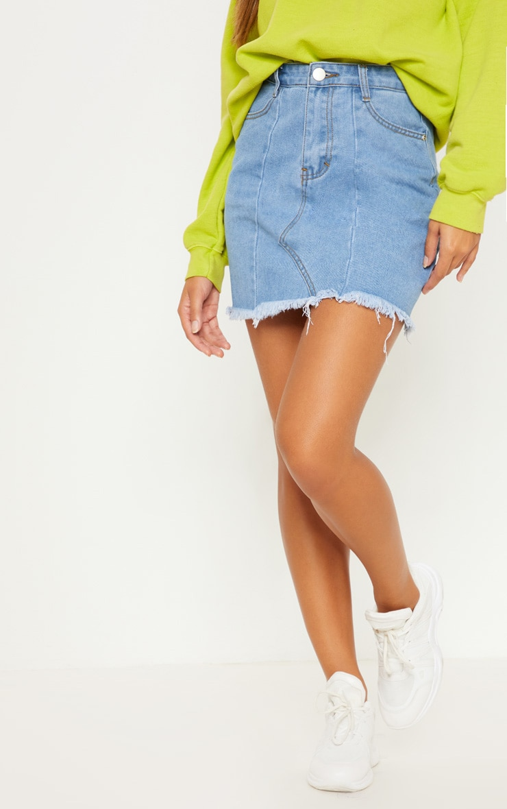 Light Wash Basic Denim Skirt  2