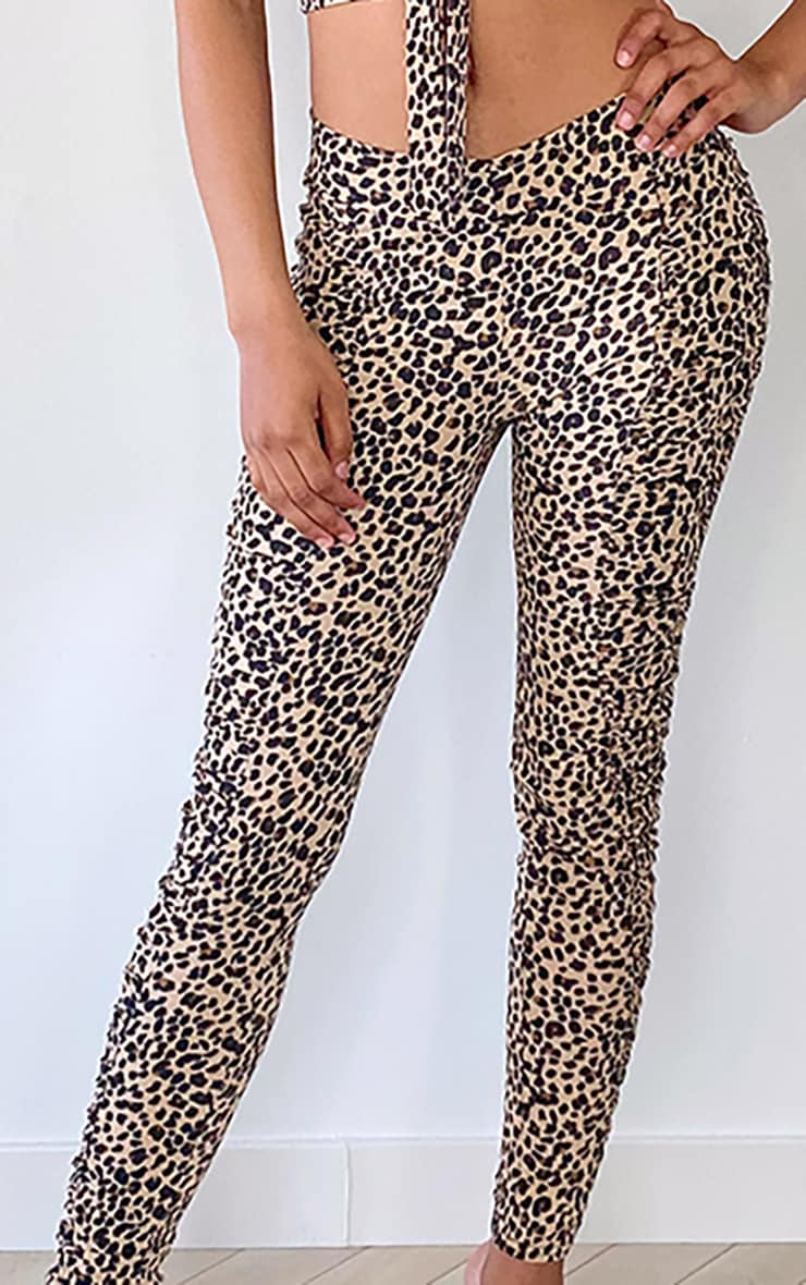 Tall Brown Leopard Ruched Front Seam Leggings 4