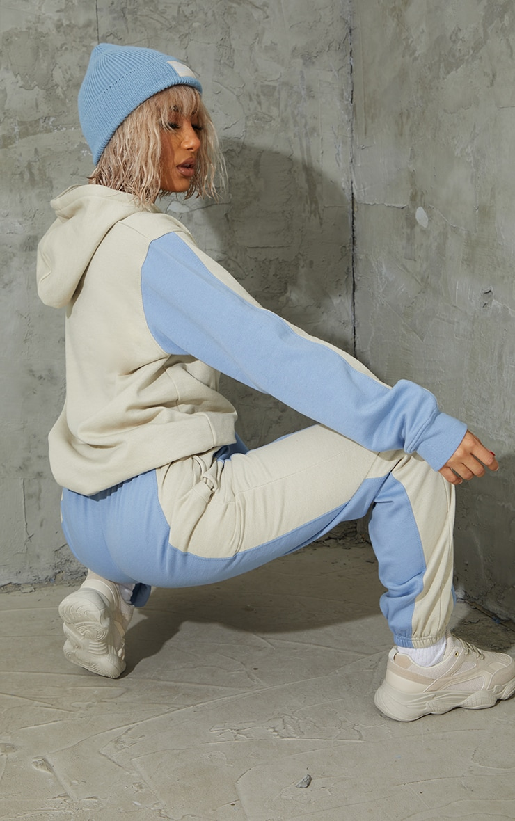 Oatmeal Colour Block Oversized Sports Hoodie 2
