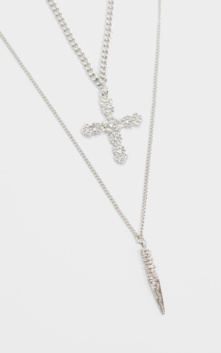 Silver Diamante Cross And Dagger Double Layering Necklace 1