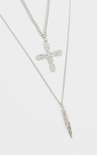 Silver Diamante Cross And Dagger Double Layering Necklace