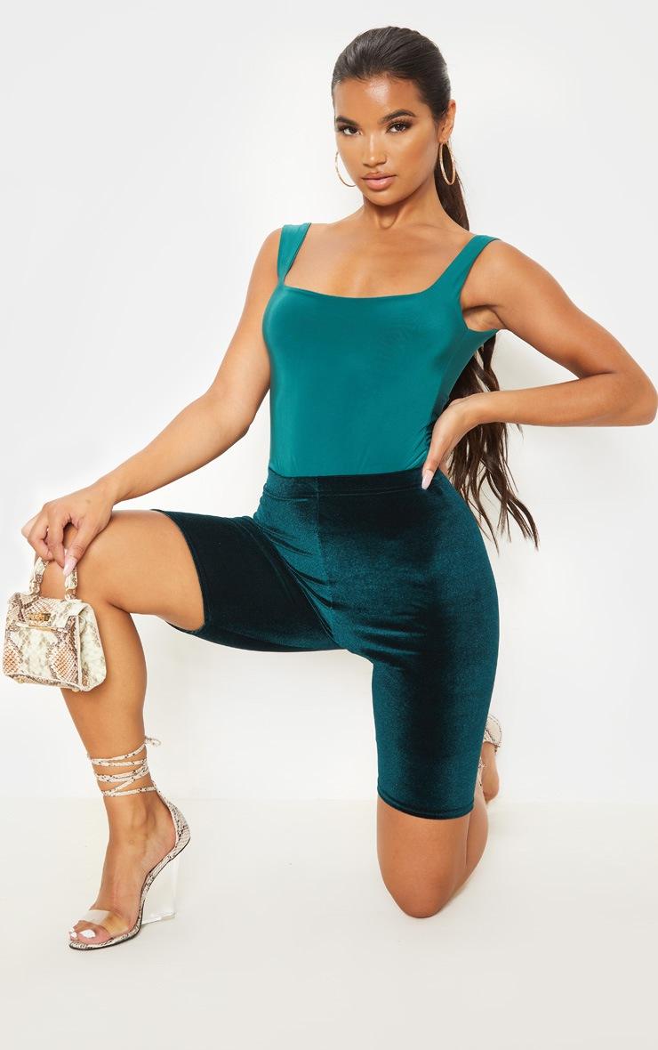 Emerald Green Basic Velvet Cycle Shorts 5